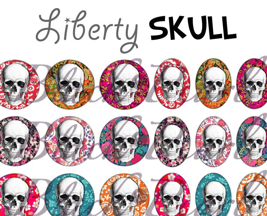 ° Liberty Skull ° - Page digitale pour cabochons - 60 images°°°°°°