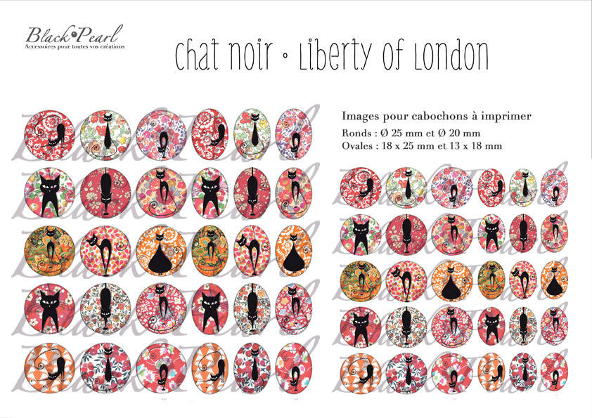 ° Chat Noir • Liberty Of London ° - Planche digitale à imprimer - 60 images