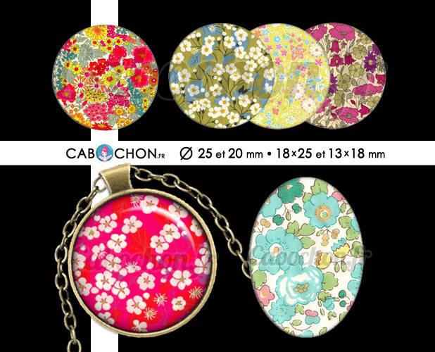 Les Libertys lll ☆ 60 Images Digitales RONDES 25 et 20 mm OVALES 18x25 et 13x18 mm liberty london fleur fleurs romantique cabochon