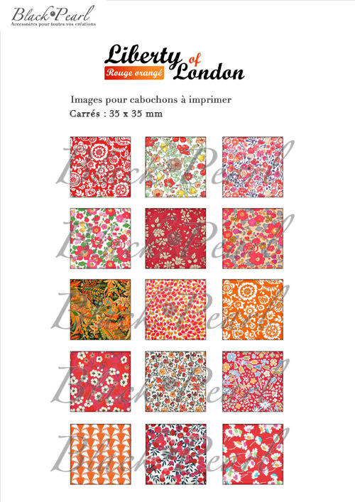 ° Liberty of London Rouge Orangé °- Page de collage cabochons - 15 images