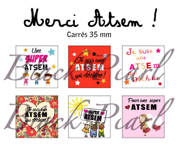 ° Merci ATSEM ! ° - Page de collage cabochons - 15 images
