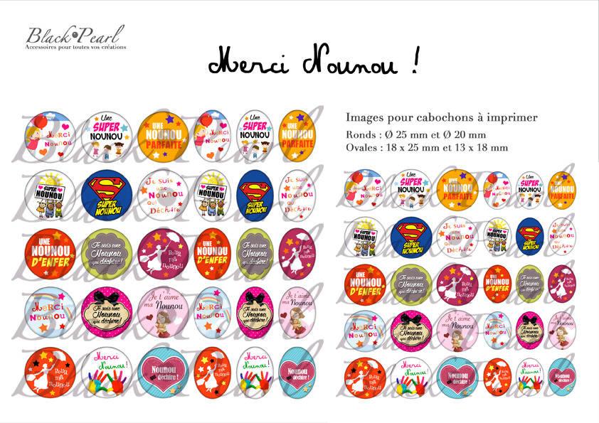 ° Merci Nounou ! ° - Page de collage digital cabochons - 60 images