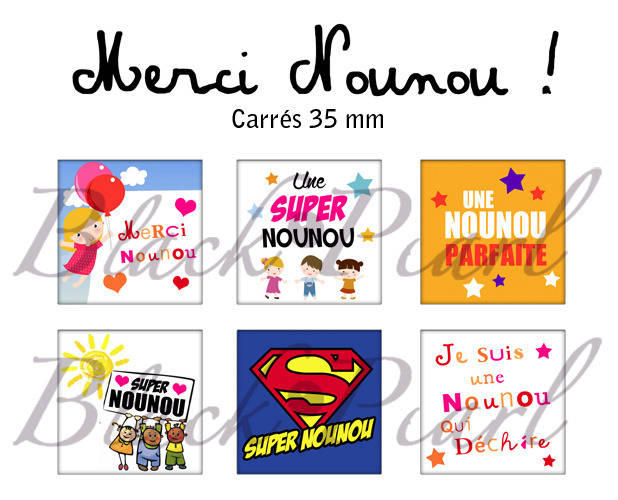 ° Merci Nounou ! ° - Page de collage cabochons - 15 images