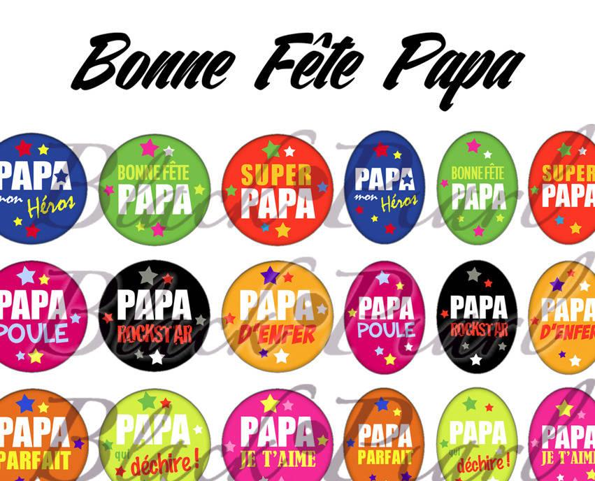 ° Bonne Fête Papa ll ° - Page de collage digital cabochons - 60 images à imprimer