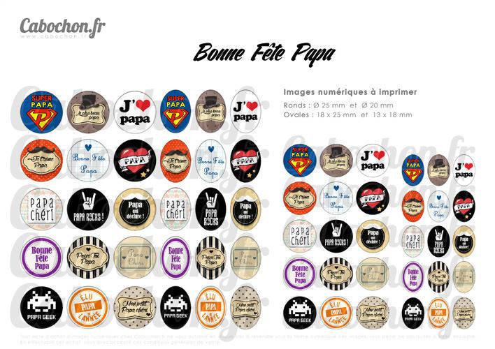 Bonne Fête Papa ☆ 60 Images Digitales RONDES 25 et 20 mm OVALES 18x25 et 13x18 mm moustache pere vintage cheri super Page