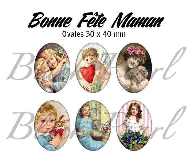 ° Bonne Fête Maman V ° - Page digitale pour cabochons à imprimer - 15 images