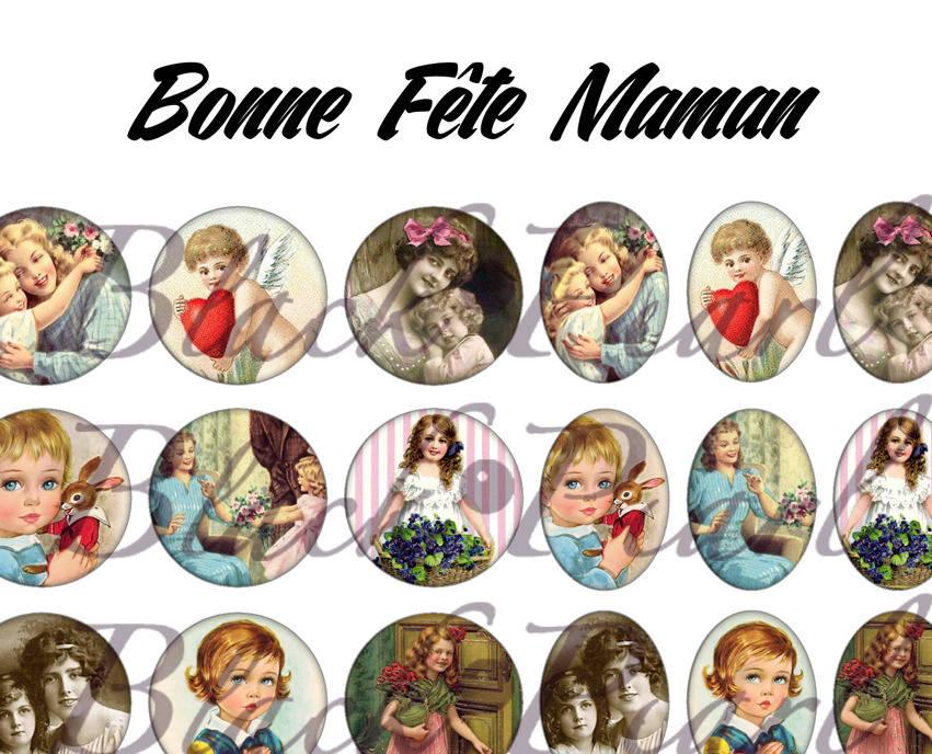 °Bonne Fête Maman V° - Planche numérique pour cabochons - 60 images à imprimer
