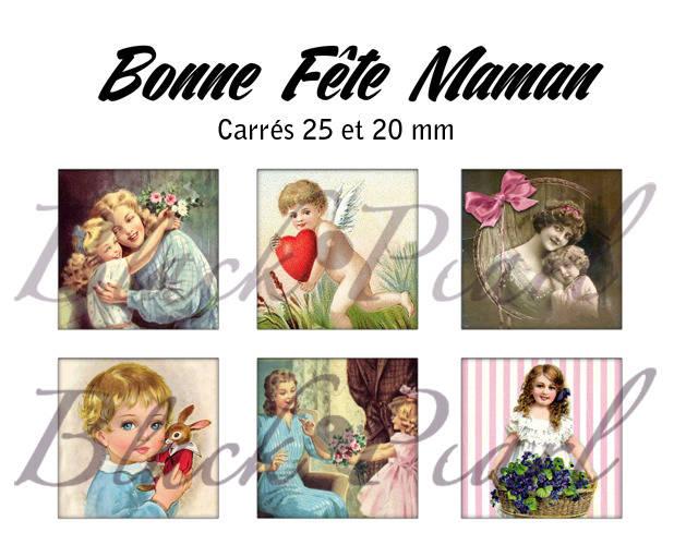 ° Bonne Fête Maman V ° - Page de collage cabochons - 30 images