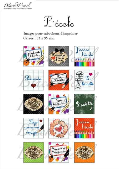 °L'Ecole ll° - Page de collage cabochons - 15 images