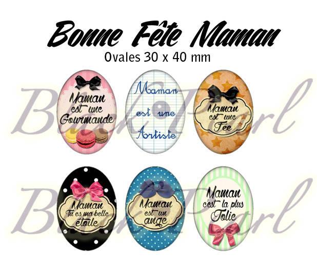 ° Bonne Fête Maman IV ° - Page digitale pour cabochons à imprimer - 15 images