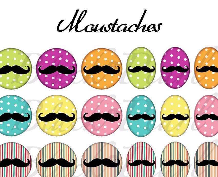 ° Moustaches ° - Page de collage digital cabochons - 60 images à imprimer