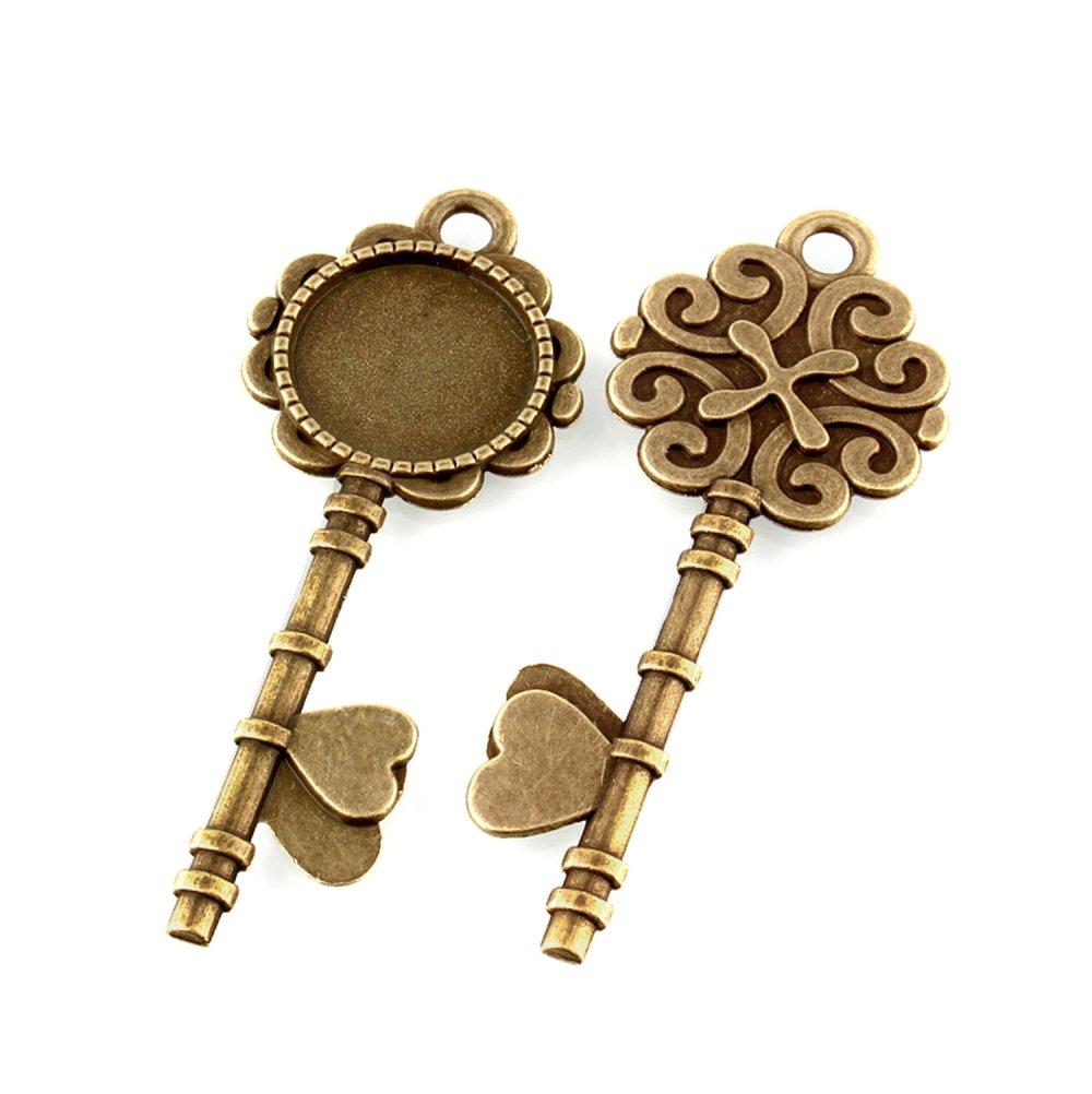Pendentif clé pour cabochon 20mm, couleur bronze