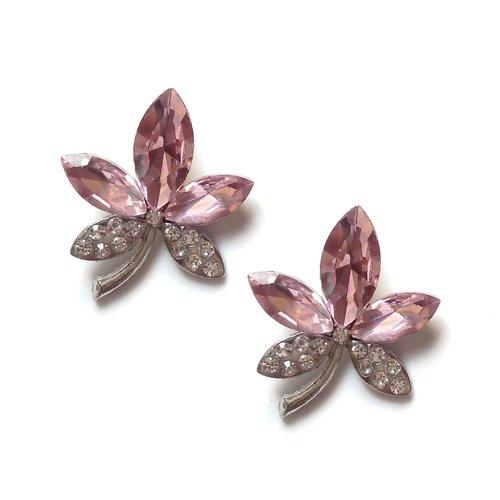 2 pendentifs fleurs, rose, verre, couleur argent platine