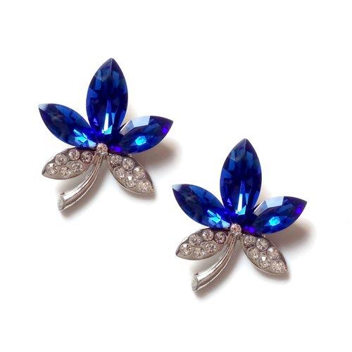 2 pendentifs fleurs, bleu, verre, couleur argent platine