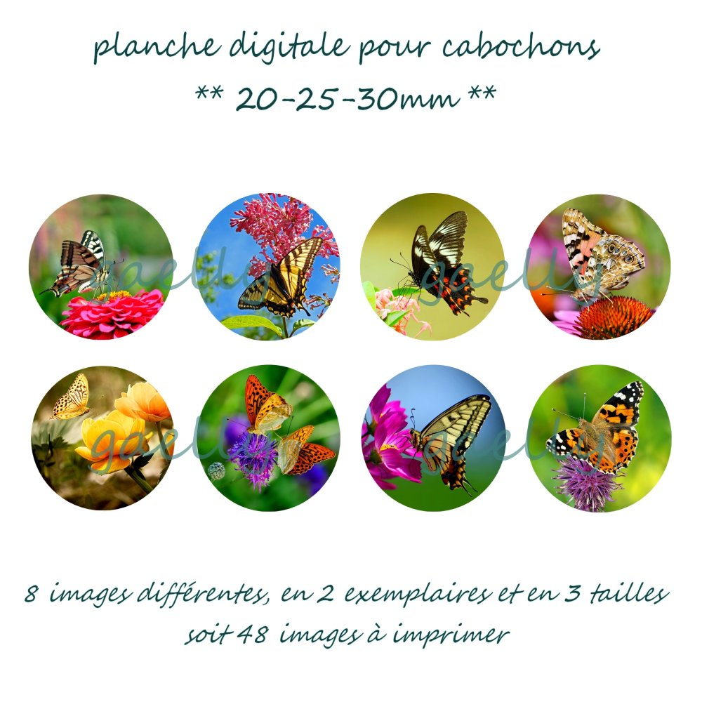Planche digitale papillons, EMAIL INDISPENSABLE, pour cabochons 30mm 25mm 20mm