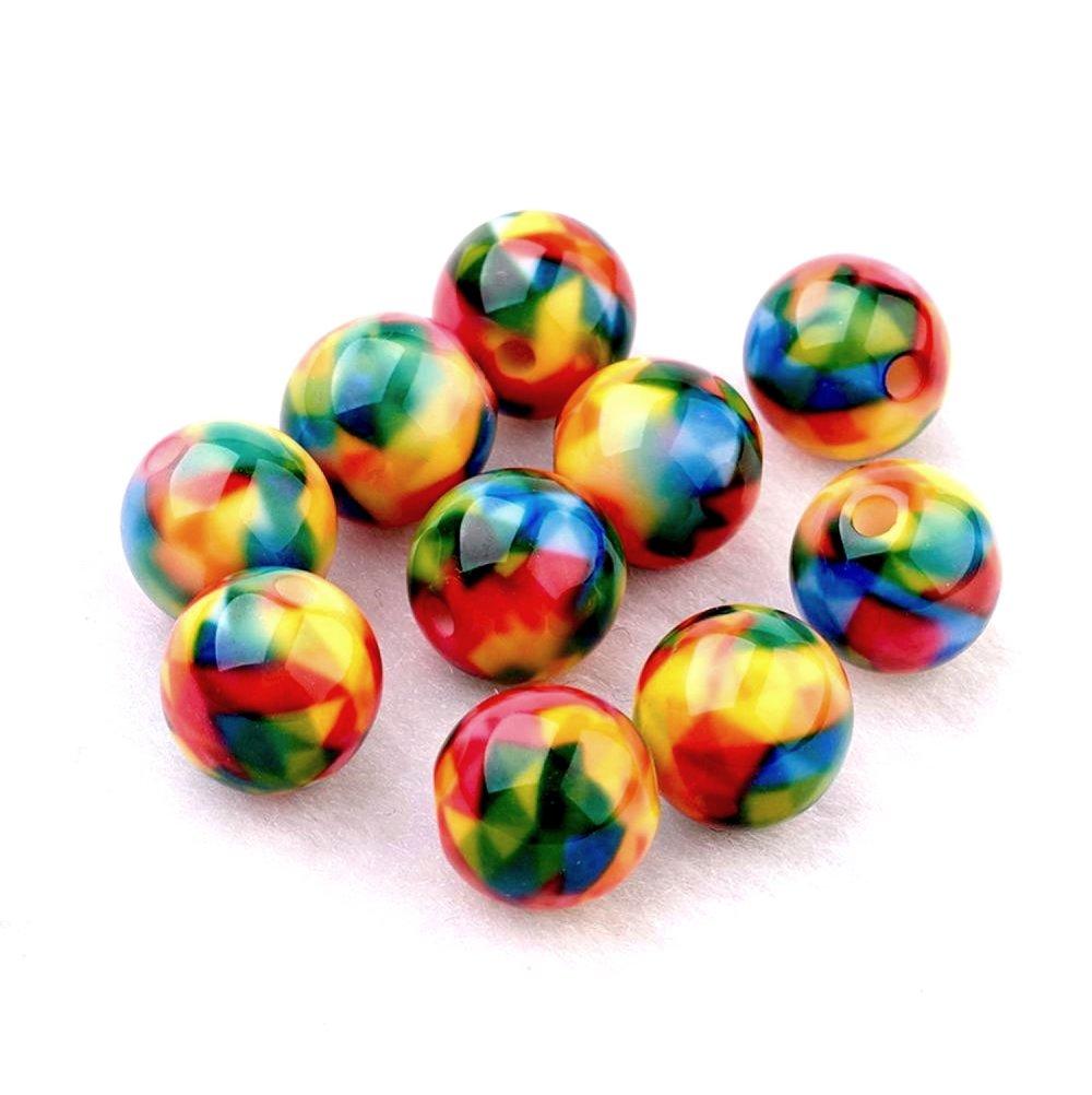 Perles en résine x10, multicolores, 10mm