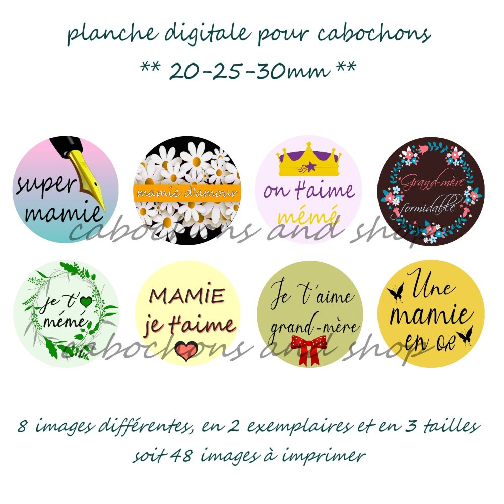 Planche digitale mamie, EMAIL INDISPENSABLE, pour cabochons 30mm 25mm 20mm