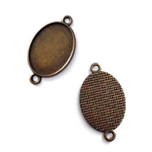 10 connecteurs pour cabochon ovale 18x25mm, support métal bronze