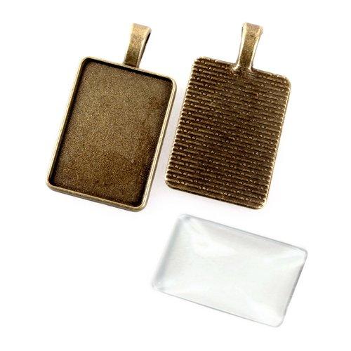 Pendentif cabochon rectangle + cabochon, support métal bronze, 18x25mm