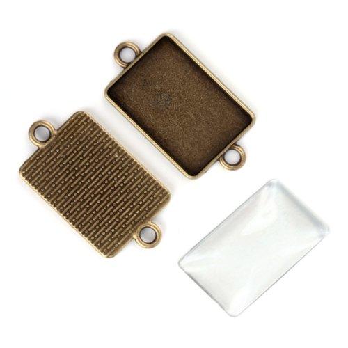 Connecteur cabochon rectangle + cabochon, support métal bronze, 18x25mm