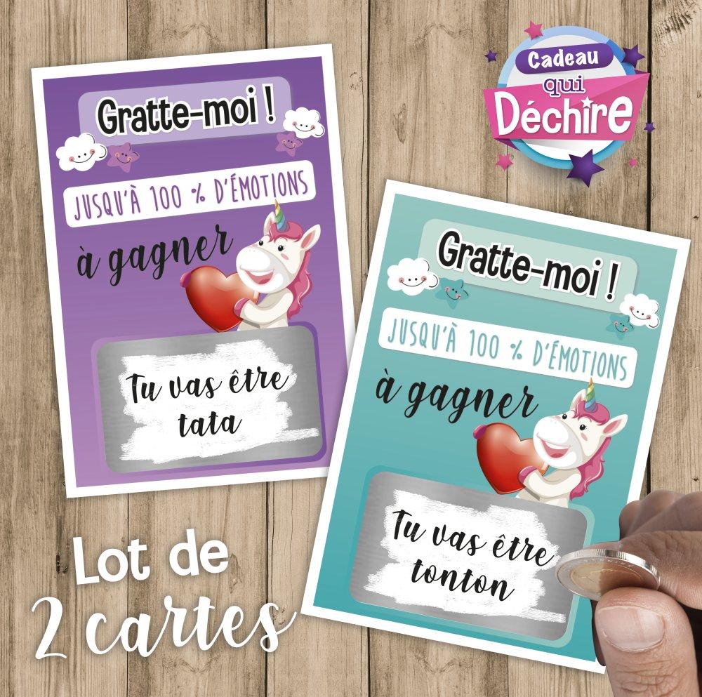 Ticket carte à gratter - annonce grossesse, bientôt bébé - tata et tonton