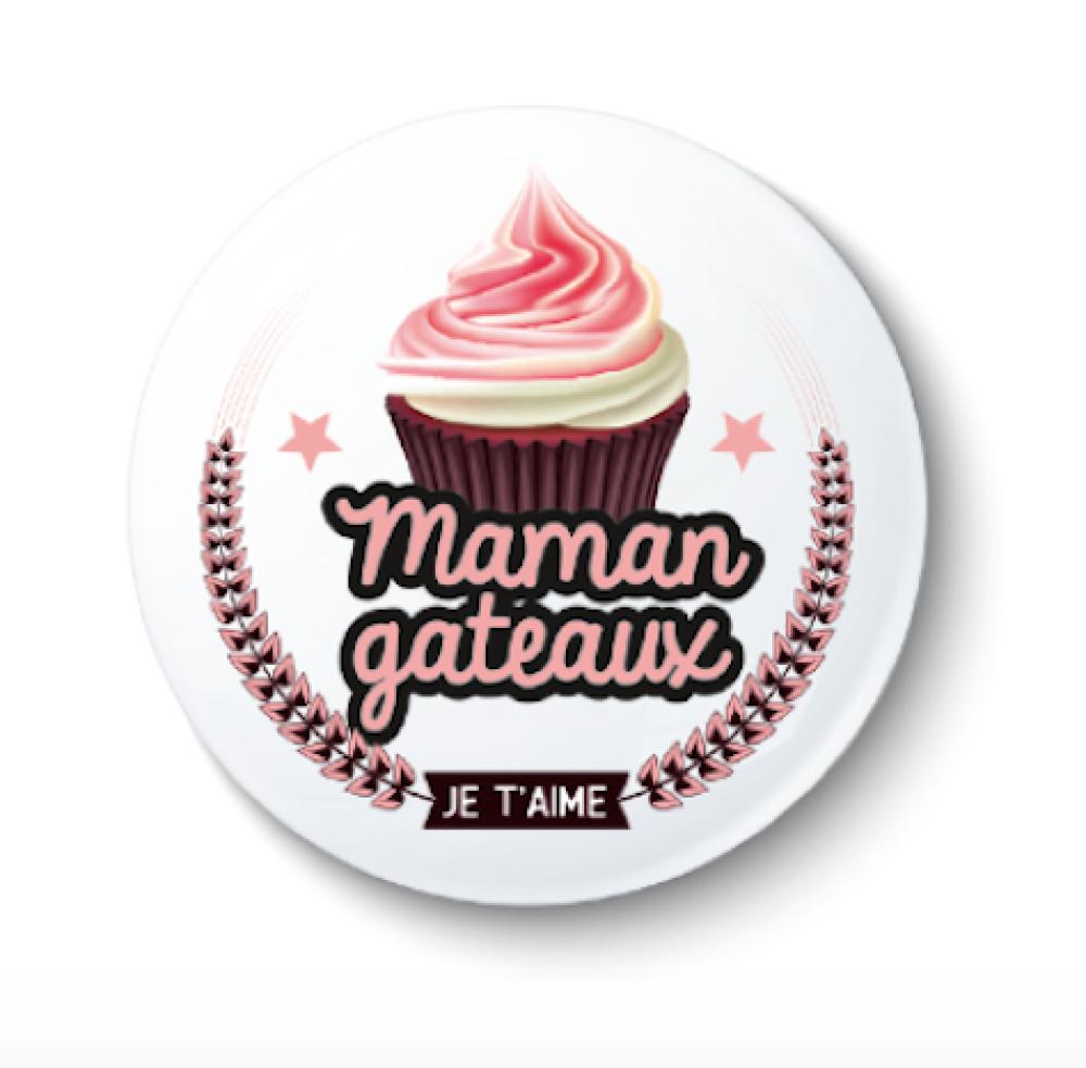 Badge épingle Maman - 50 mm - Cadeau maman - Cadeau fête des mères