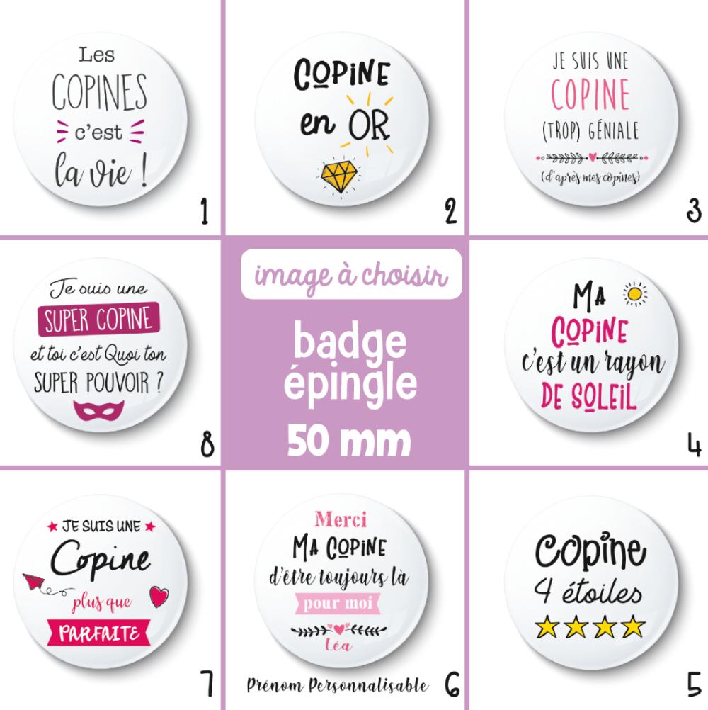 Badge épingle copine - 50 mm - Idée de cadeau copine - Choix de l'image