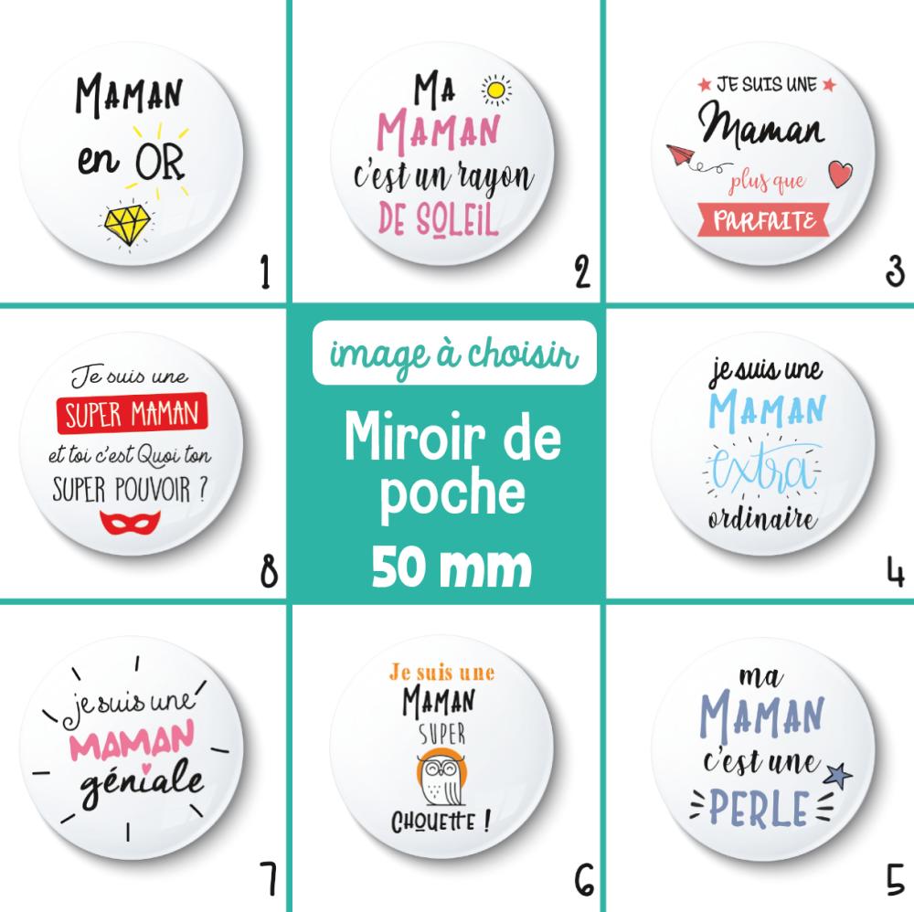 Miroir de poche Maman - 50 mm - Cadeau maman - Cadeau fête des mères - Choix de l'image