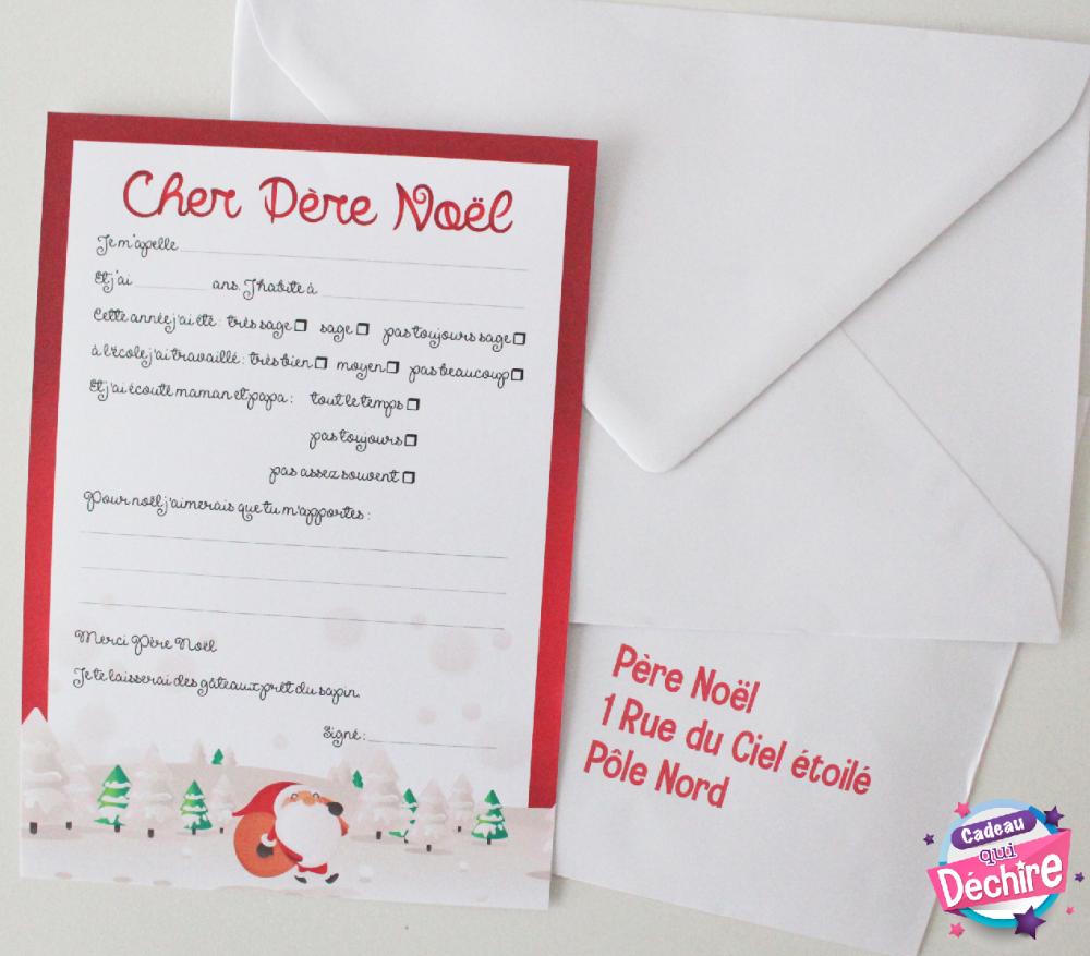 Lettre au Père Noël + envellope - Liste de cadeaux de noël