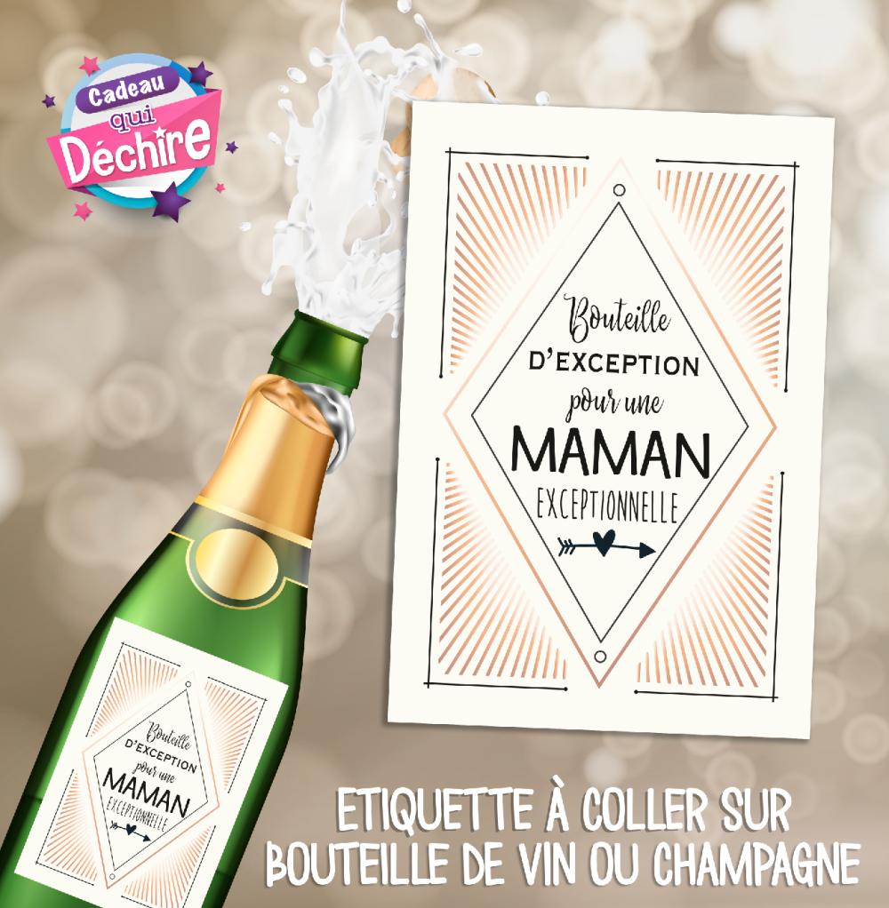 Etiquette bouteille pour champagne ou vin - idée cadeau fête des mères - cadeau maman