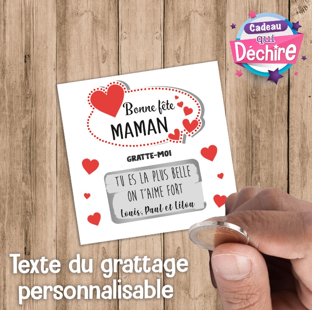 Ticket carte à gratter personnalisable - idée cadeau fête des mères - cadeau maman