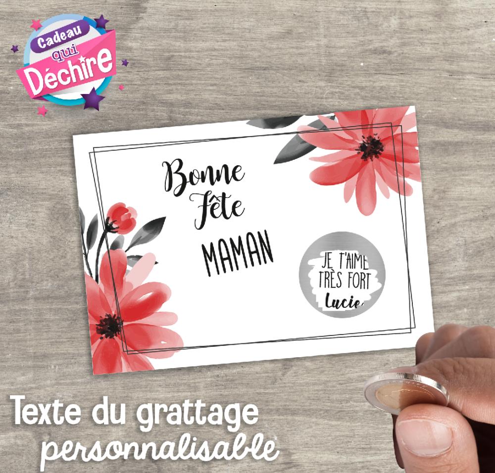Ticket carte à gratter personnalisable - idée de cadeau fête des mères, cadeau maman
