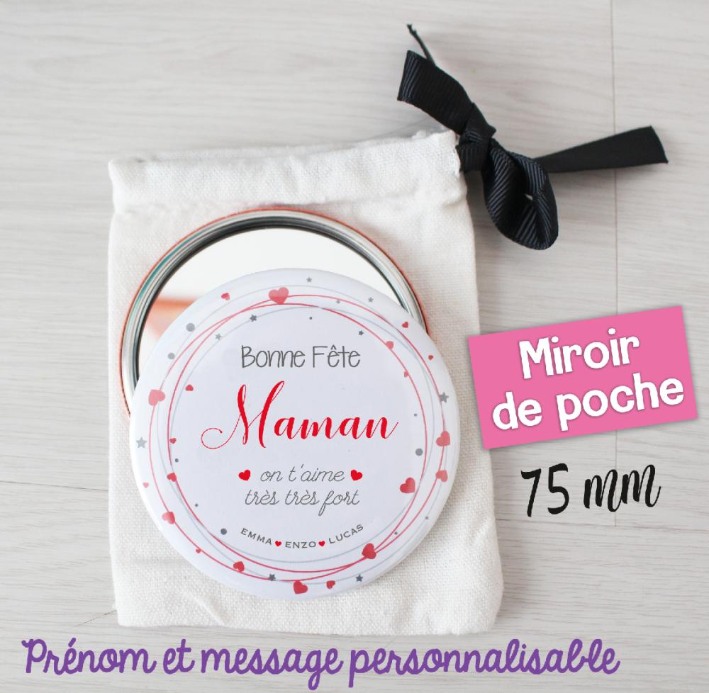 Miroir de poche personnalisable - 75 mm - Cadeau maman, idée cadeau fête des mères