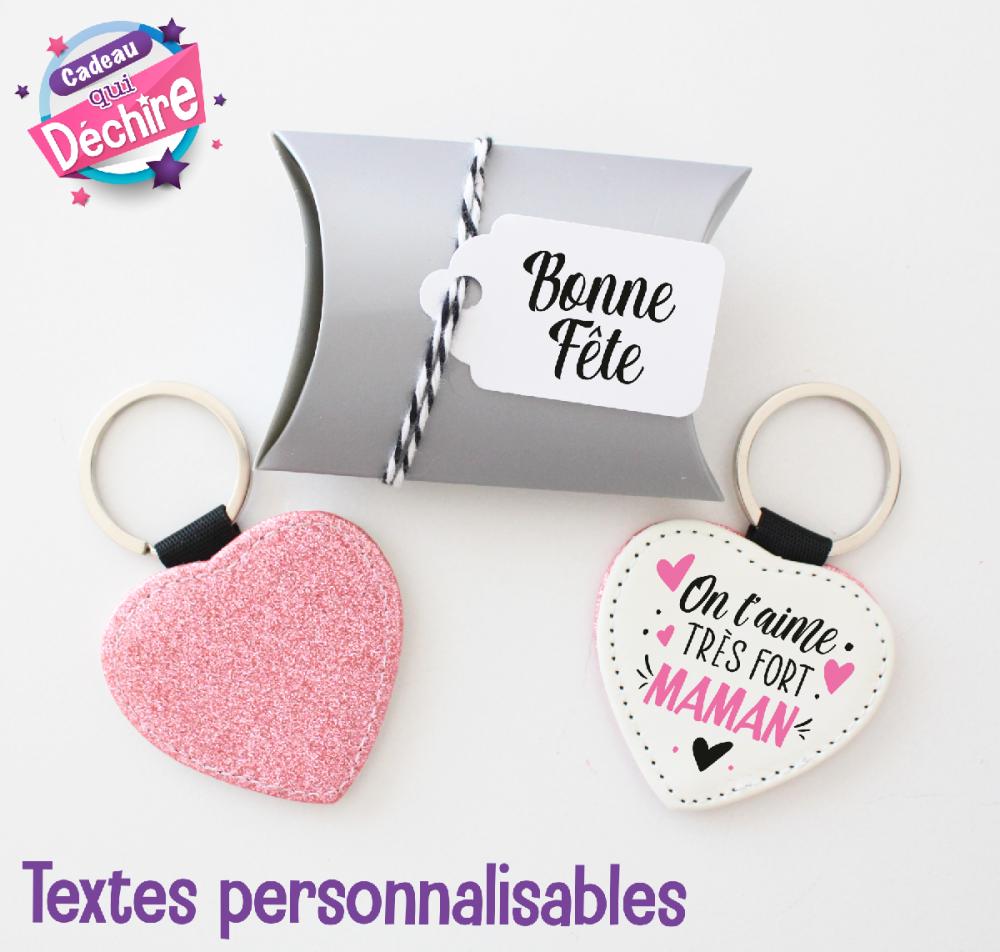 Porte clé coeur avec son emballage prêt à offrir - idée de cadeau maman, fête des mères - cadeau personnalisable