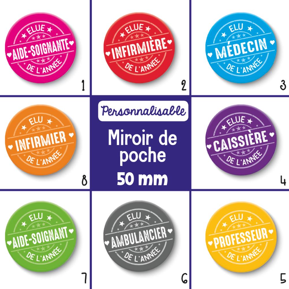 Miroir de poche métiers personnalisables - Choix de l'image (la couleur) et le métier