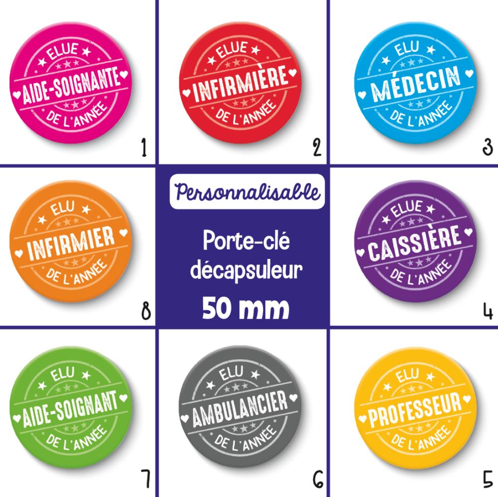 Porte-clé décapsuleur métiers personnalisables - Choix de l'image (la couleur) et le métier