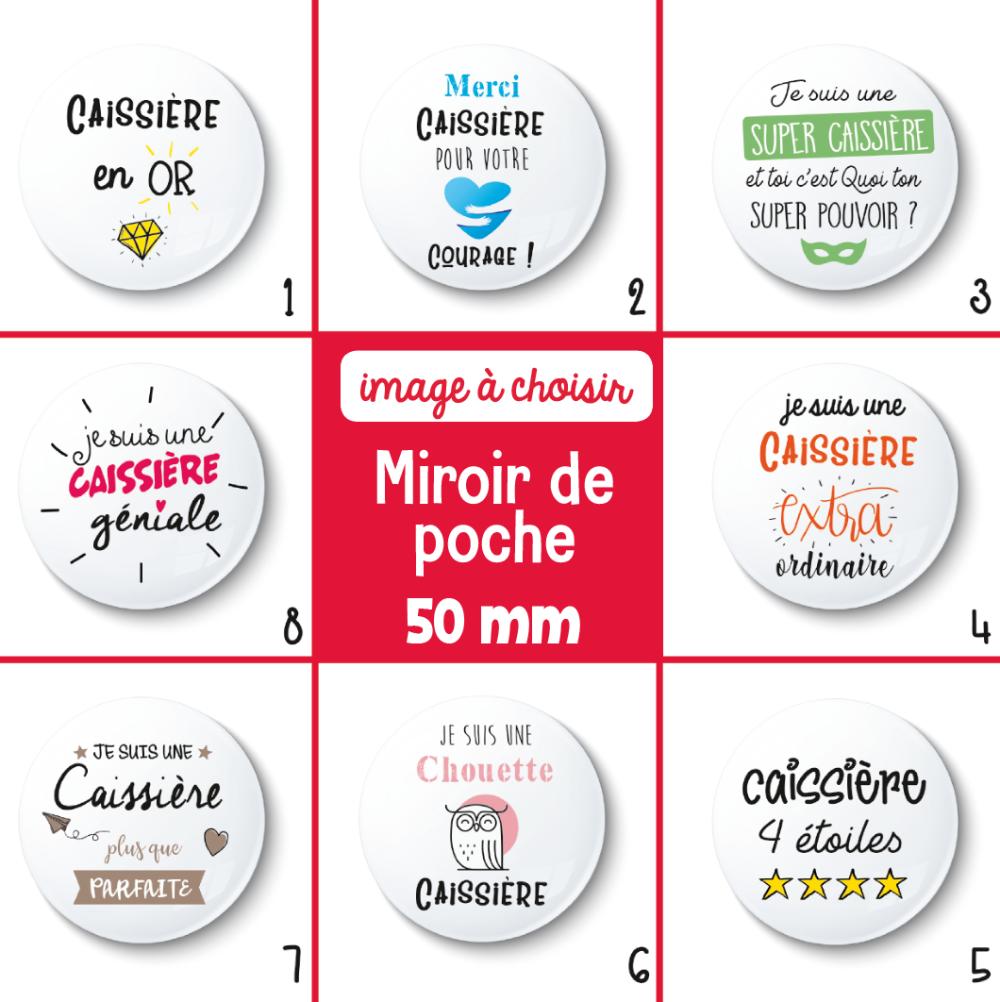 Miroir de poche caissière - 50 mm - Cadeau remerciement - Choix de l'image - Cadeau caissière