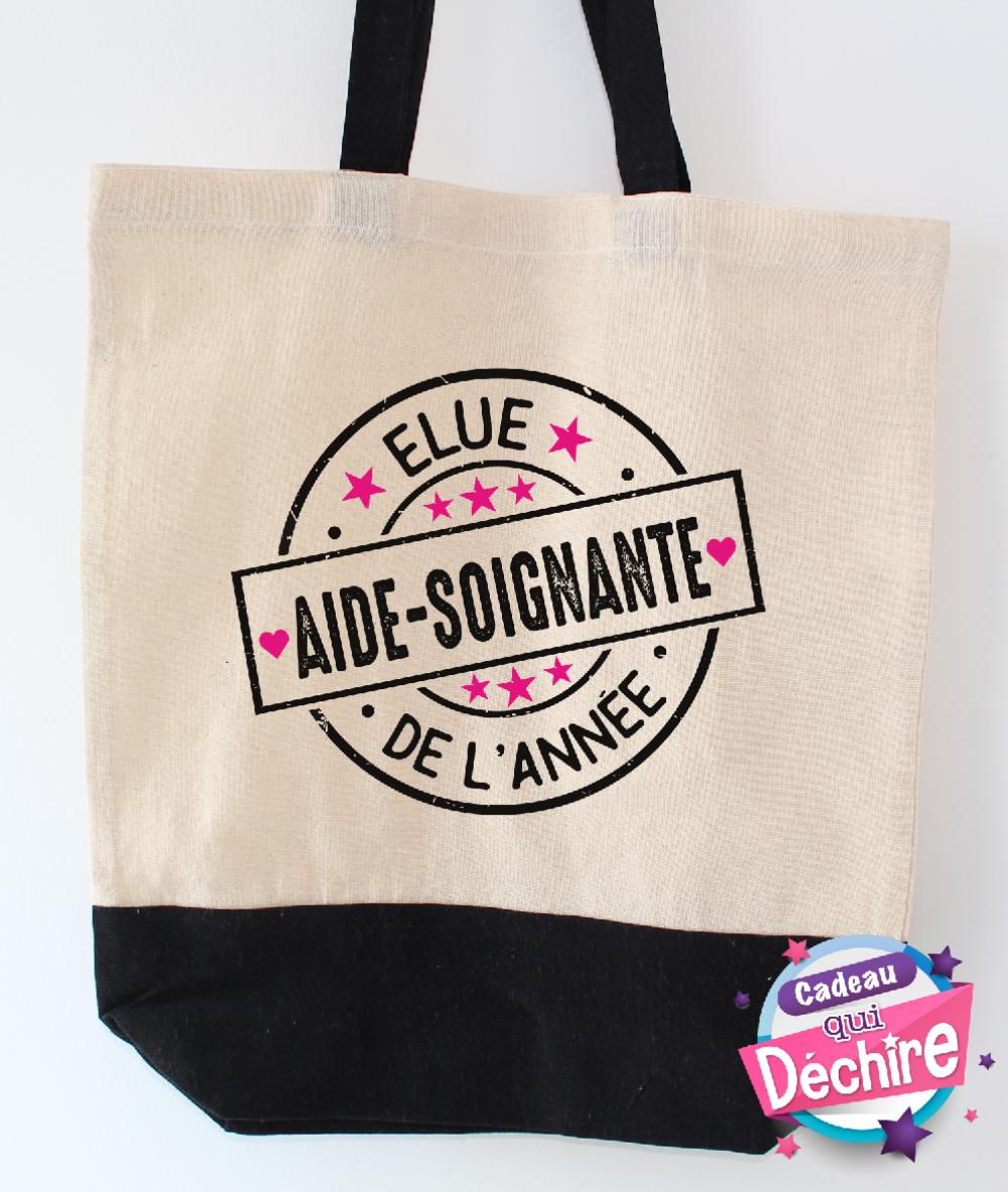 Sac tote bag 100% coton, sac cabas avec soufflet - cadeau aide-soignante - idée de cadeau remerciement aide-soignante