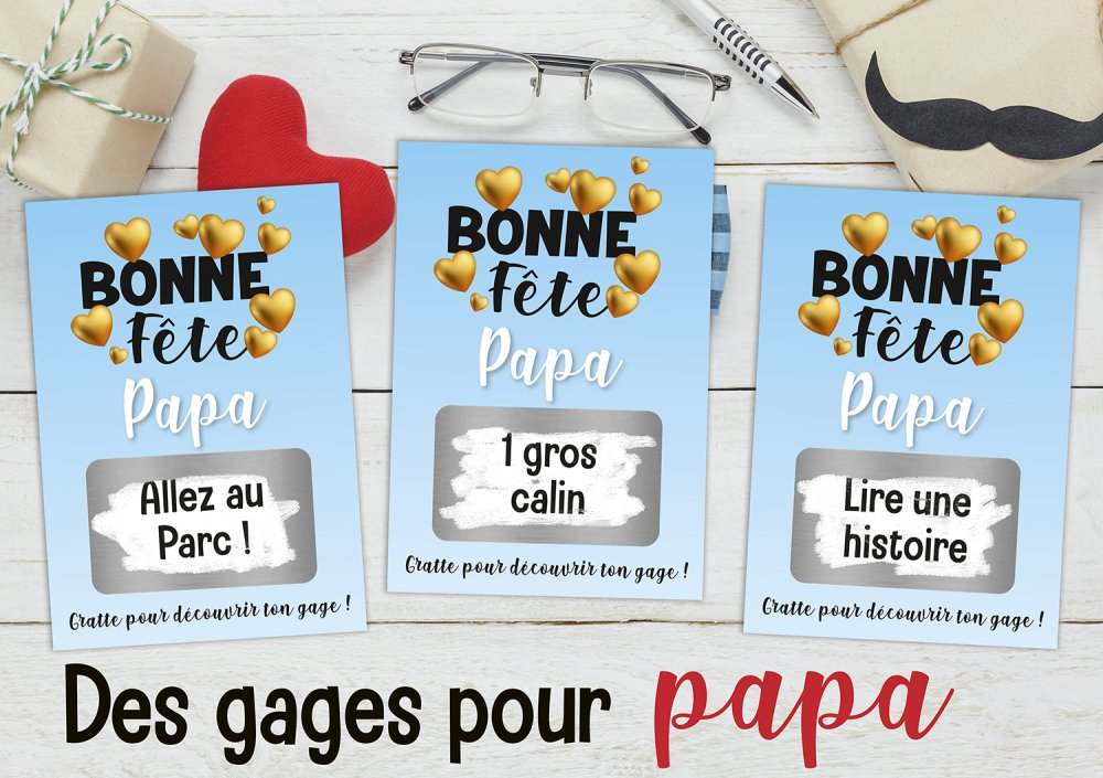 3 cartes à gratter personnalisable avec vos gages - idée cadeau fête des pères - cadeau papa - ticket à gratter