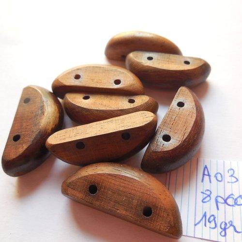 Perles en bois demi lune 30 mm, connecteur