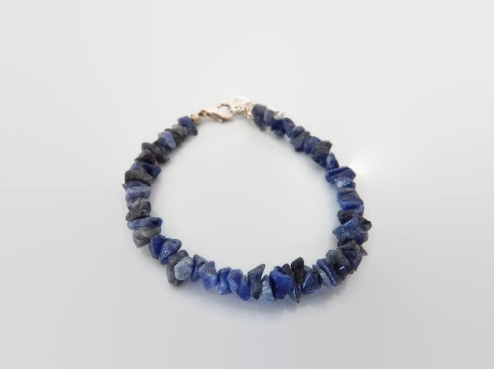 Bracelet sodalite polie ou chips de sodalite bleu