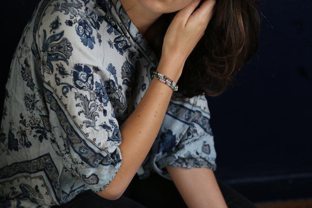 """Bracelet code morse """"Je t'aime"""" en pierres semi-précieuses"""