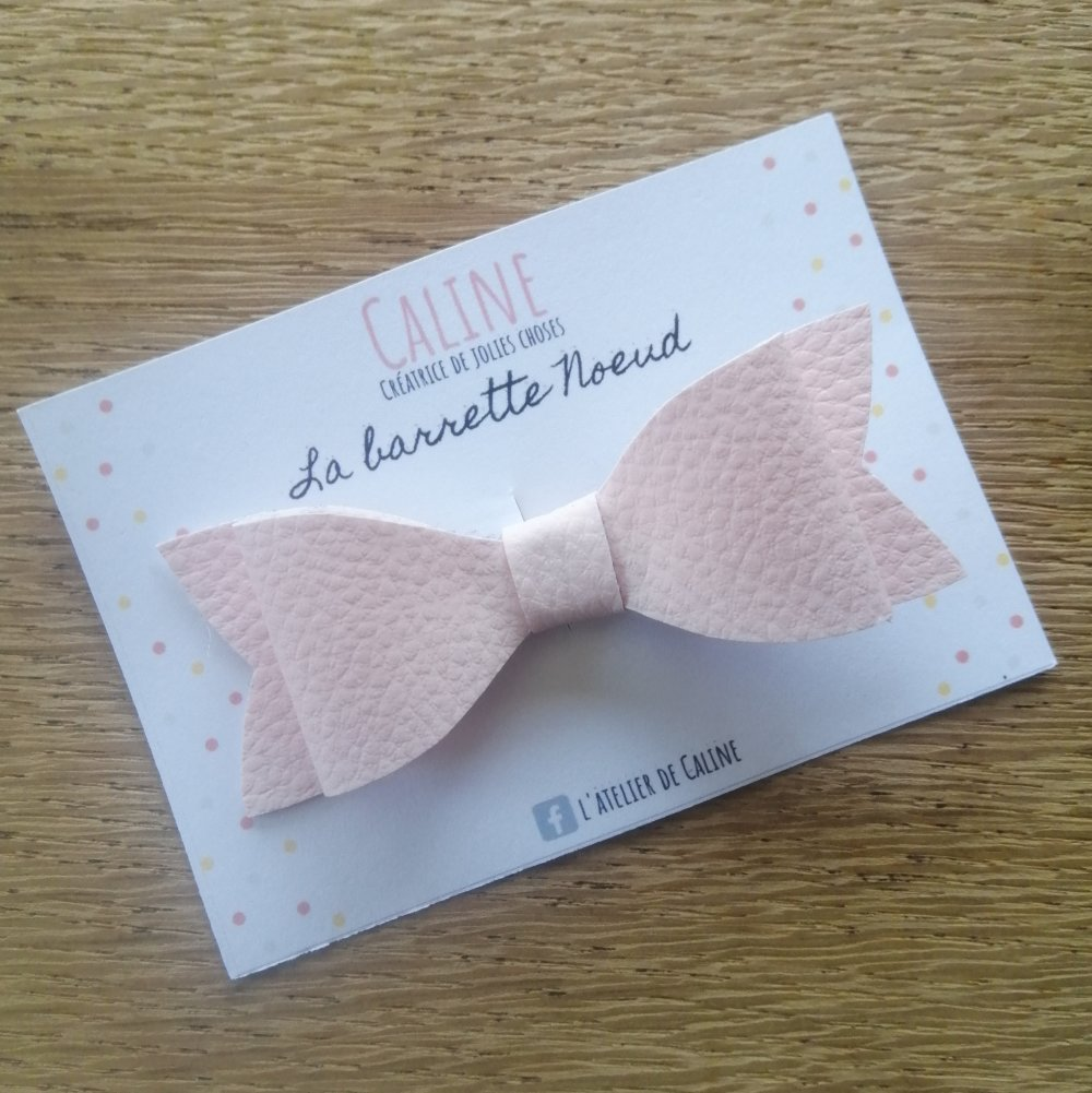 Barrette noeud rose pastel