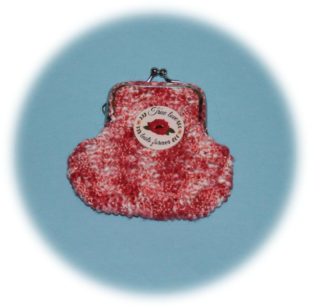 Porte-monnaie rétro en coton chiné rose foncé