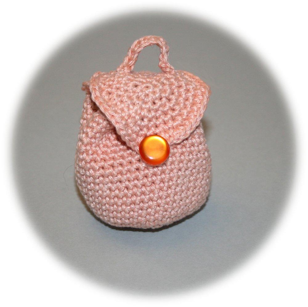 Mini porte-monnaie forme sac à dos en coton saumon