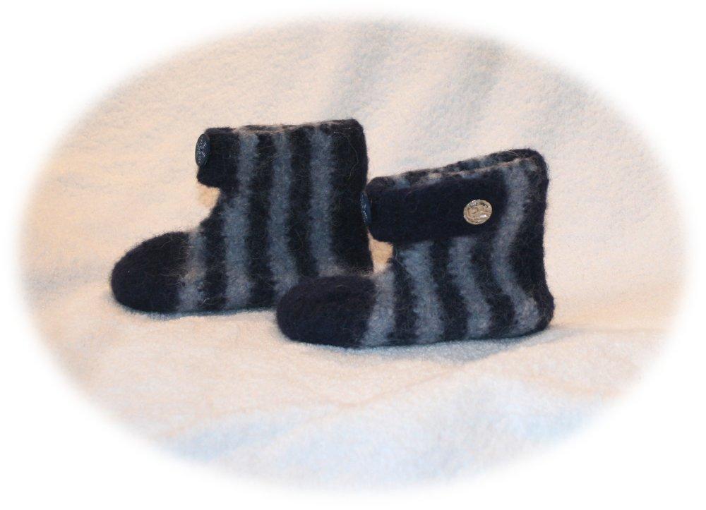 Chaussons bottines pour enfants feutrés bleu & gris ornés flocon