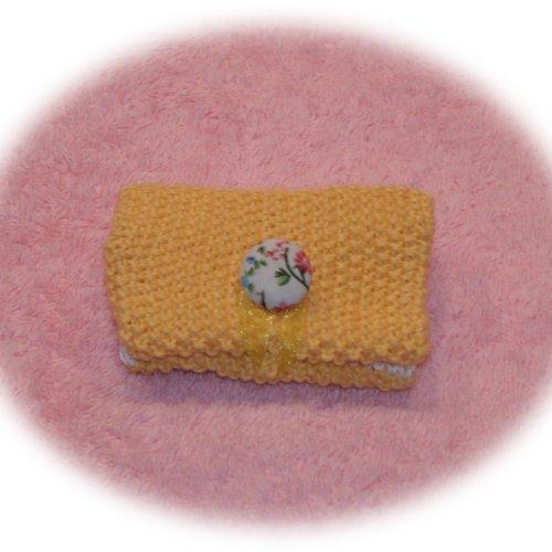 Etui pour carte bancaire en coton jaune paille et blanc