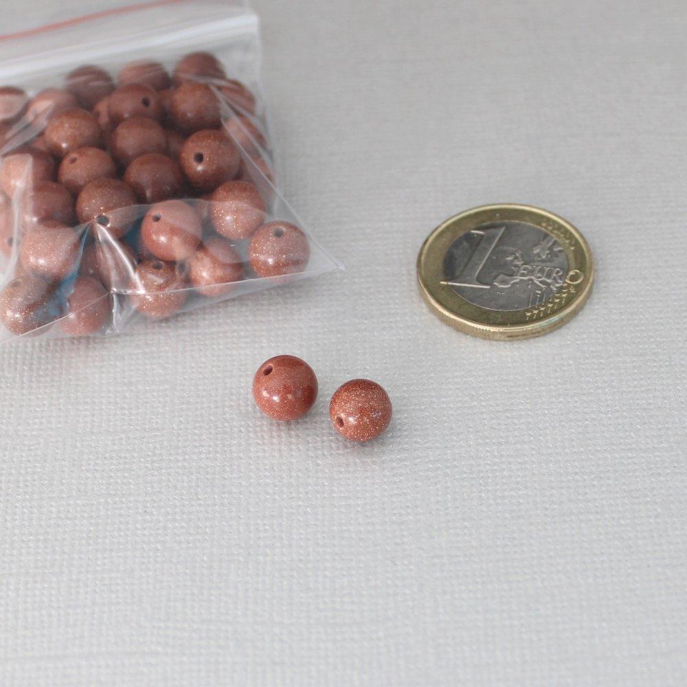 40 perles rondes en Goldstone brun - Diamètre: 8mm - Pierre naturelle