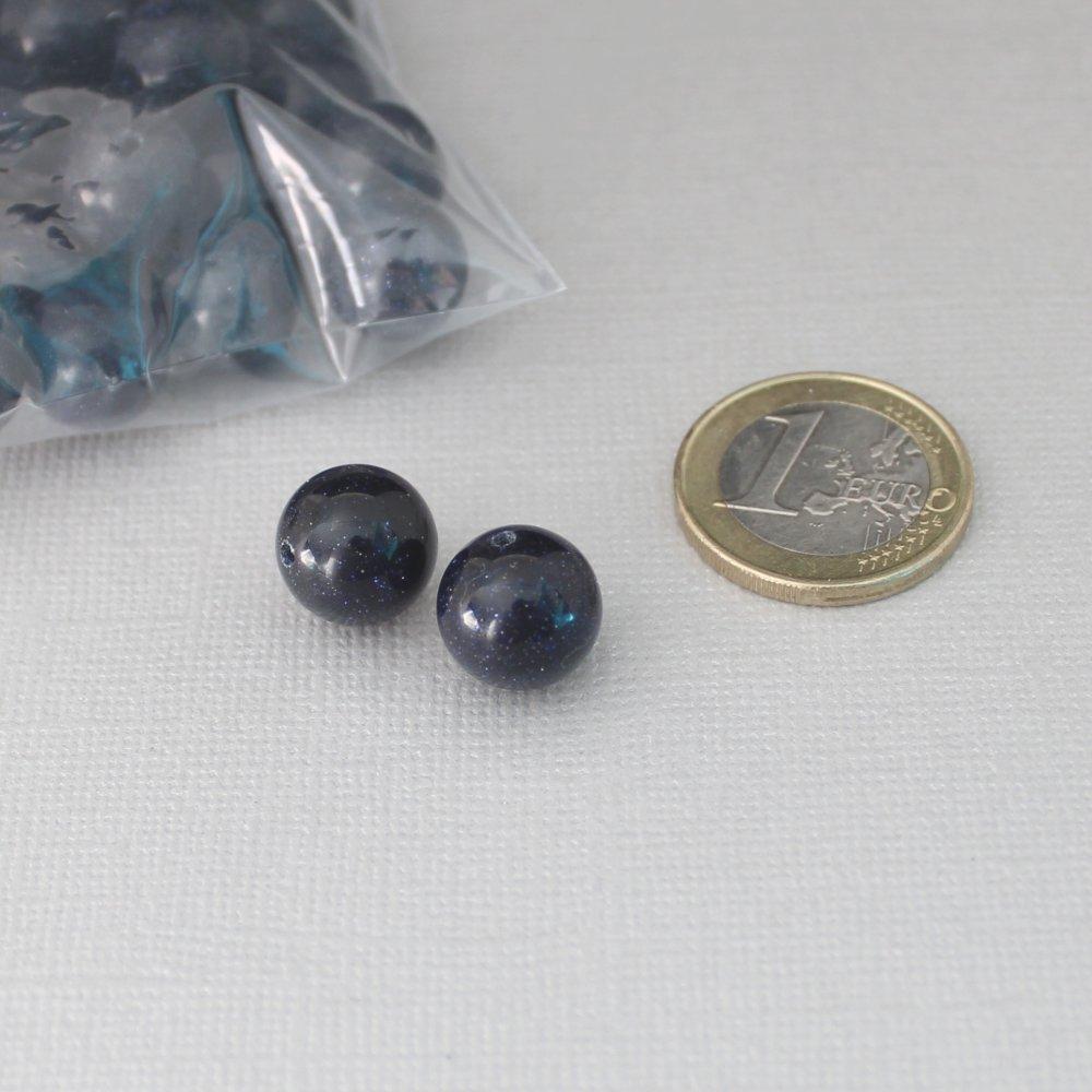 Perles Blue Goldstone ou Sand Stone - 12mm - Pierre gemme effet galaxie ou ciel étoilé
