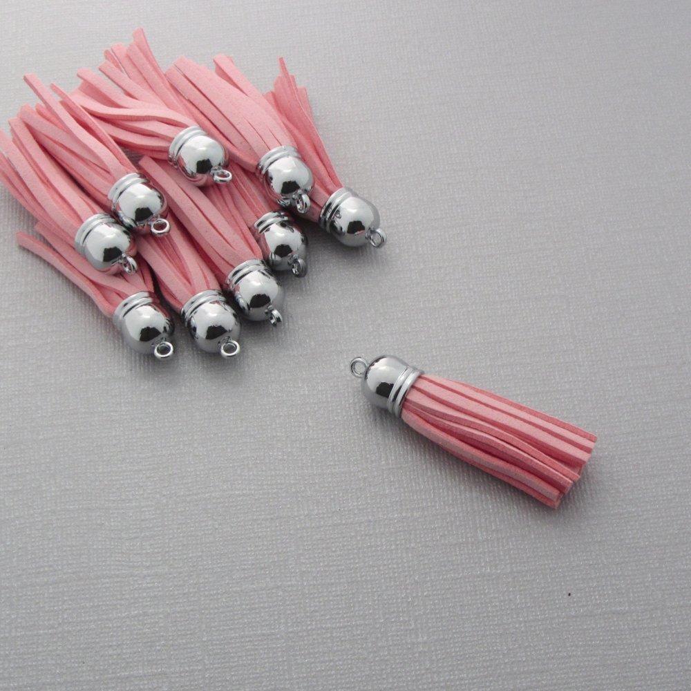 Lot de 16 pompons velours rose avec embout argenté - Breloque, pendentif pompon pour bijoux et accessoires - Rose - 59mm